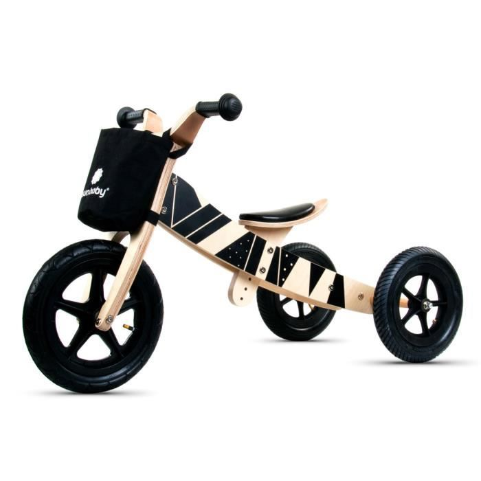 Draisienne tricycle en bois Moa Black Edition Twist 2 en 1 à partir de 2 ans 90