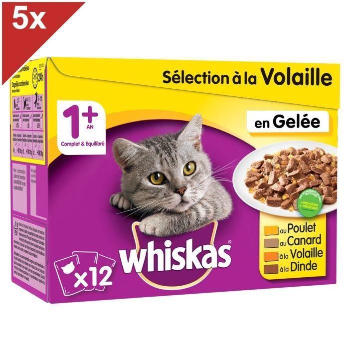 WHISKAS 60 Sachets fraîcheur gelée sélection à la volaille pour chat 100g (5x12)