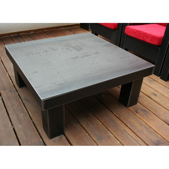 Table basse m tal brut loft achat vente table basse table basse m tal bru - Table basse en metal ...