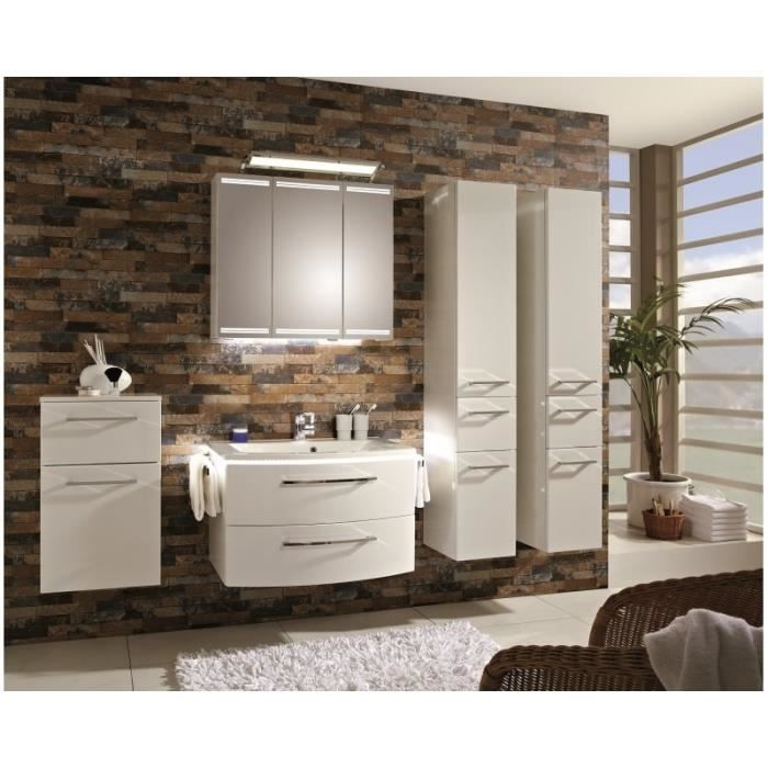 meuble suspendu salle de bain lunic 80 anthracite satin miroir 1 blanc brillant 80 cm43 cm. Black Bedroom Furniture Sets. Home Design Ideas