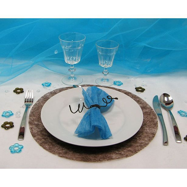 4 sets de table rond intiss chocolat achat vente for Sets de table rigides
