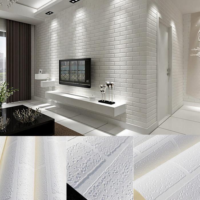 Papier Peint 3d Brique Blanc Non Adhesif Decoration Chambre 10m X 0 53m Achat Vente Papier Peint Papier Peint 3d 10m X 0 53m Cdiscount
