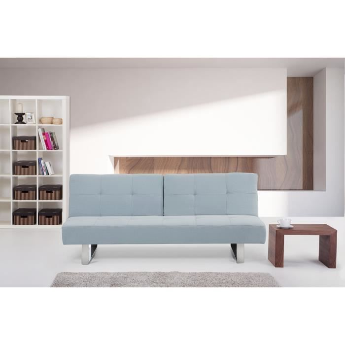 canap convertible canap lit en tissu bleu clai moncornerdeco. Black Bedroom Furniture Sets. Home Design Ideas