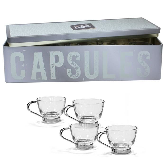4 tasses caf verre inox coffret pastel achat vente service th caf cdiscount. Black Bedroom Furniture Sets. Home Design Ideas