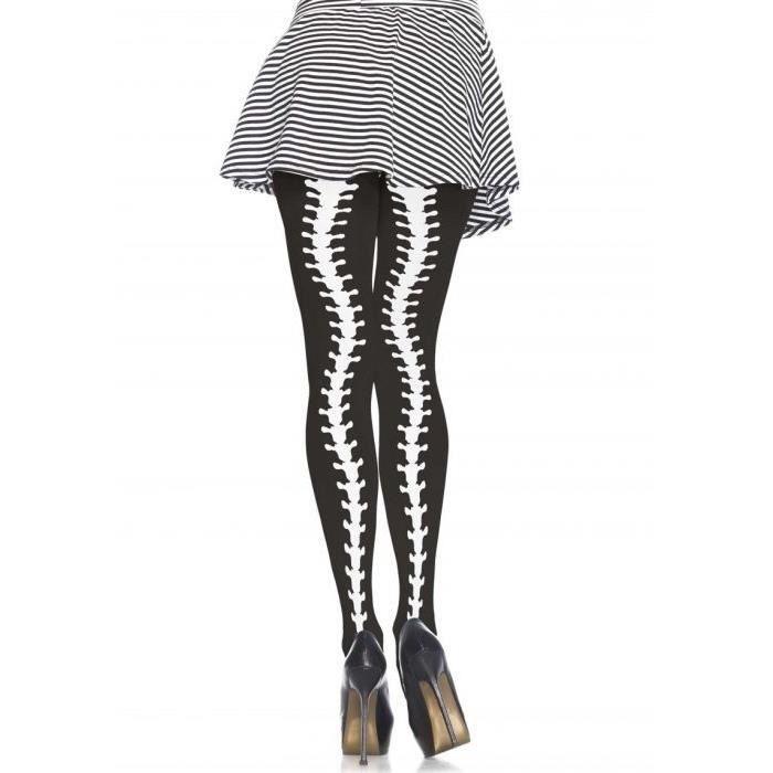Halloween Squelette Collants Noir Avec Blanc Squelette jambes adulte Taille unique NEUF