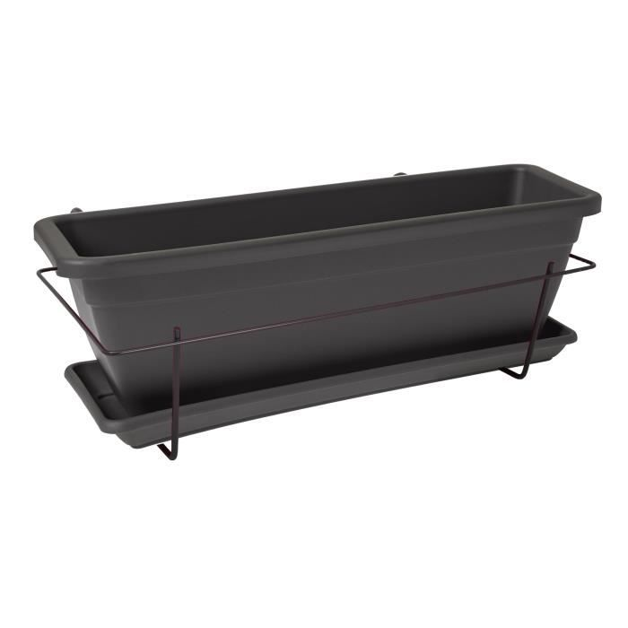 Kit jardini re balcon veneza 50 cm anthracite achat for Achat jardiniere balcon