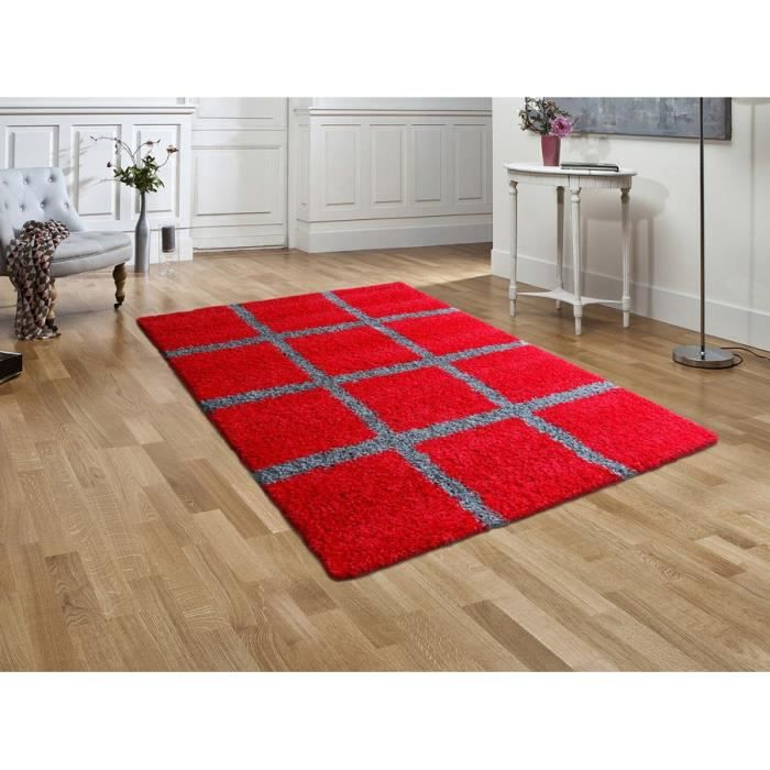 tapis shaggy deco damier rouge gris 120 x 160 cm achat vente tapis cdiscount. Black Bedroom Furniture Sets. Home Design Ideas