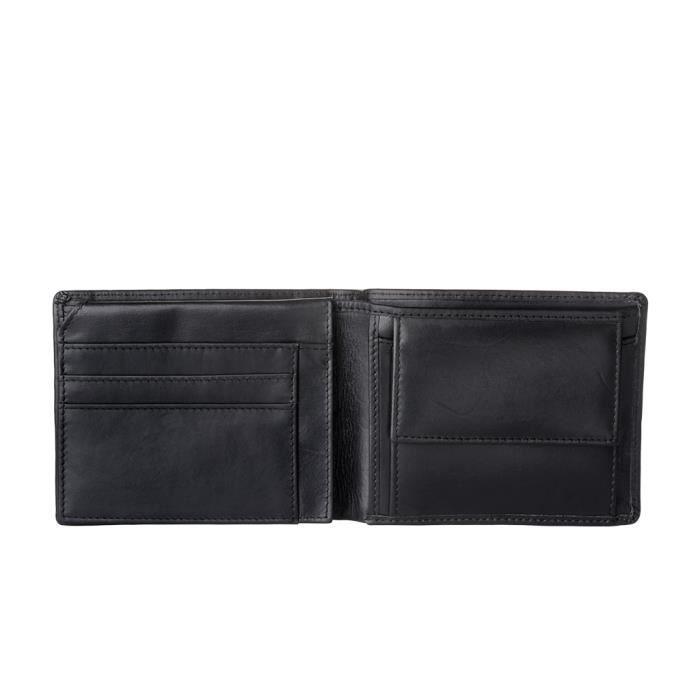 Nuvola Pelle Portefeuille Homme sans Porte-Monnaie en Cuir Souple avec 8 Poches Porte-Cartes Noir