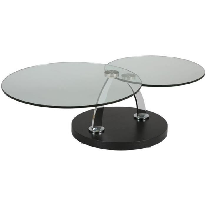Table basse verre noir pi tement plaqu ch ne teinte for Table basse chene et verre