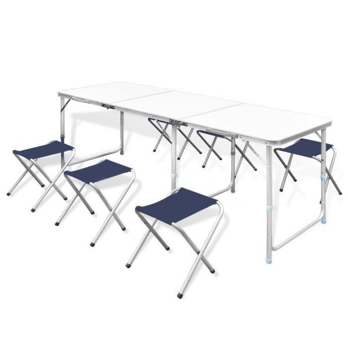 Table Pliante De Camping Reglable En Hauteur Avec 6 Chaises Pour