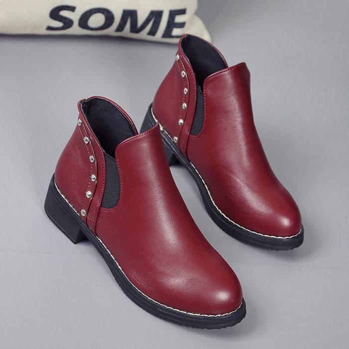 Femmes Rivets Chaussures plates Bottes MARTAIN Bottines en cuir ronde Chaussures Toe Frandmuke913