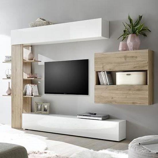 Ensemble Meubles Tv Blanc Et Chene Moderne Fino 3 Marron L 257 X P 30 X H 187 Cm Achat Vente Meuble Tv Ensemble Meubles Tv Blanc Et Cdiscount