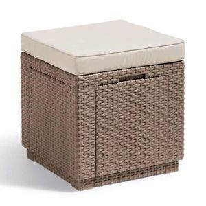 TABLE BASSE JARDIN  ALLIBERT  Table-coffre avec coussin - imitation ré