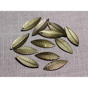 Perles 30pc - Pendentifs Breloques Métal Bronze Feuilles