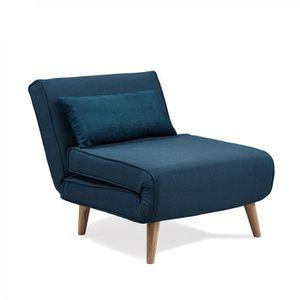 FAUTEUIL Fauteuil convertible en tissu bleu MAORA