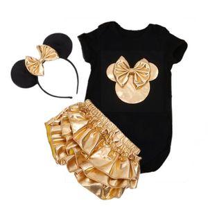 Ensemble de vêtements Bébé vêtements fille 3pcs ensembles noir coton bar