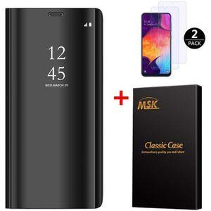 HOUSSE - ÉTUI Coque Samsung A50 + [2 Pack] Verre trempé, Miroir