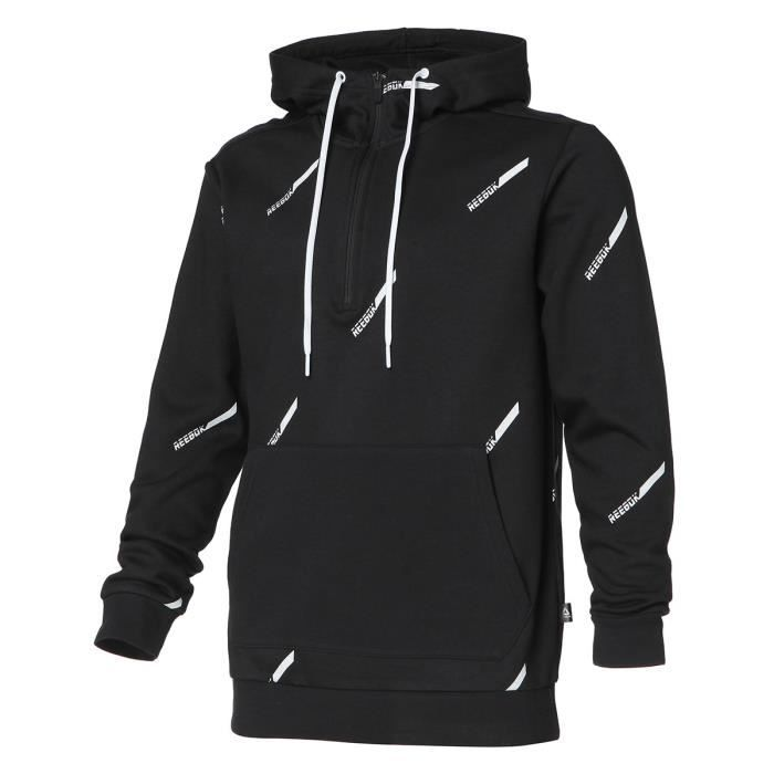 REEBOK Sweat à capuche zippé MYT Fleece - Homme - Noir