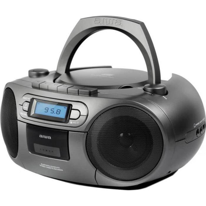 Lecteur CD portable Aiwa BBTC-550MG Gris avec radio, cassette, Bluetooth et USB