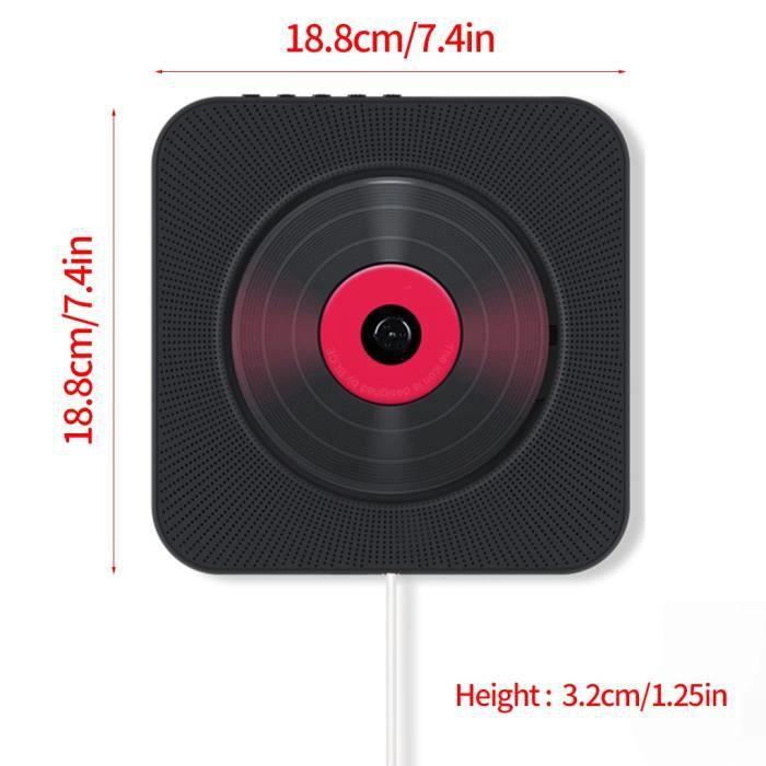Lecteur CD enfant,Lecteur CD mural Bluetooth 4.2 avec télécommande Boombox Audio sans fil en plastique ABS - Type black