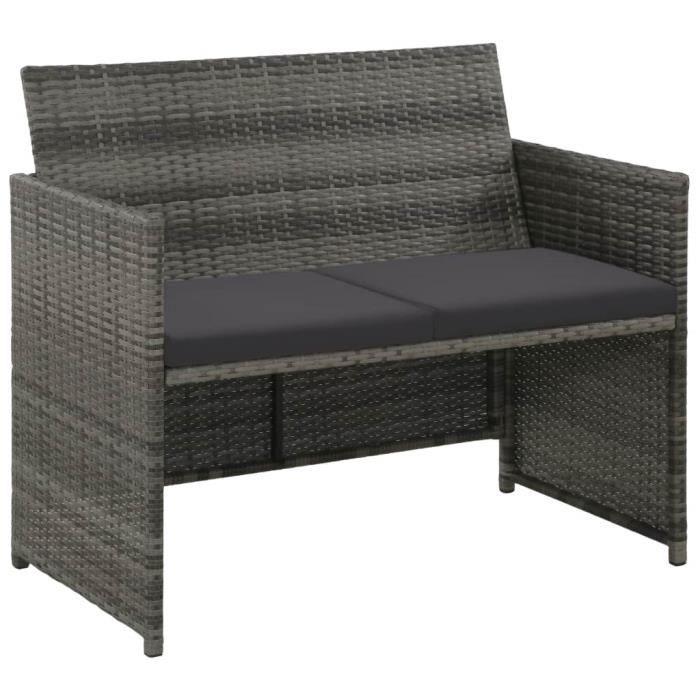 Canapé de jardin à 2 places avec coussins Gris Résine tressée HB007 -GAR ~ 219