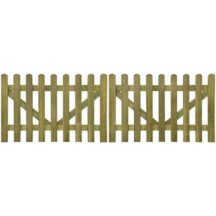 Portail de clôture à piquets 2 pcs Bois imprégné 300x100 cm -PAI