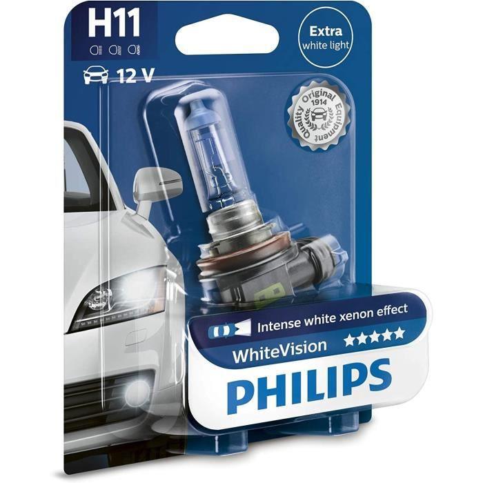 Philips WhiteVision effet xénon H11 pour éclairage avant 12362WHVB1, blister de 1