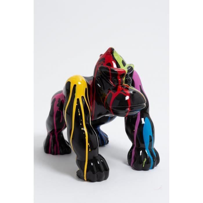 Statue singe gorille mini donkey kong taille S design trash noir - LIKASI - 36cm -