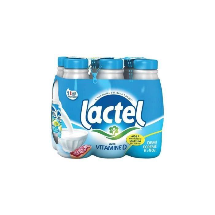 Lait Lactel Vitamine D demi-écrémé 50cl (lot de 18)