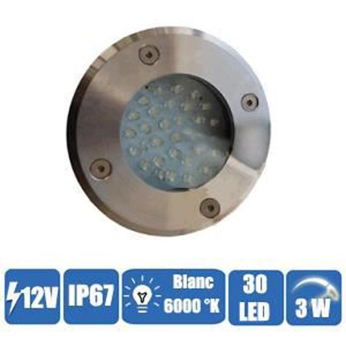 Spot encastrable éclairage blanc étanche 30 LEDs 12 Volts