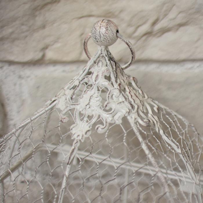 Cage à Oiseaux Grillagée Grillage Décorative Blanc 53 cm 11258