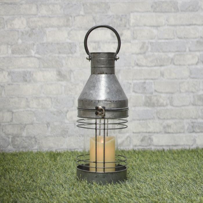 Lanterne Tempête Zinc Fer Extérieur Intérieur 46 cm - 10078-Bis-Lanterne