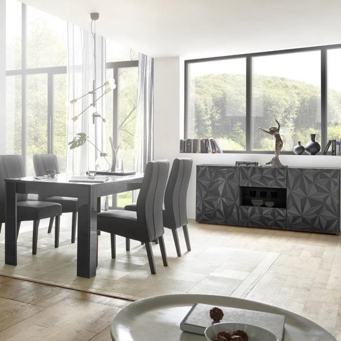 Salle à manger grise laquée design buffet 2 portes 2 tiroirs + table NINO 2 L 180 x P 90 x H 79 cm Gris