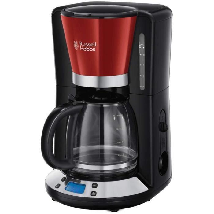 Russell Hobbs Machine à Café, Cafetière Filtre 1,25L Programmable 24h, Affichage Digital, Maintien au Chaud - Rouge 24031-56 Colours