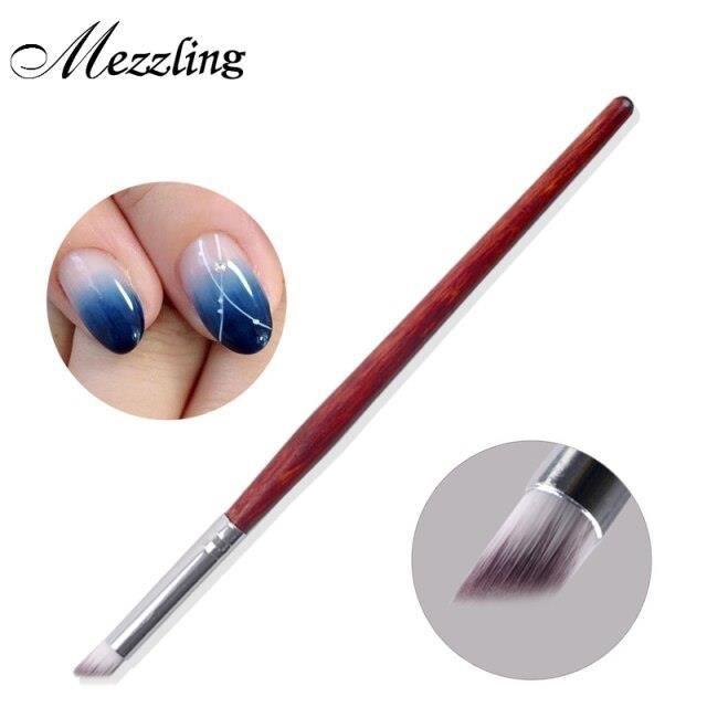 1Pc ongle Art brosse dégradé Dizzy colorant stylo bois poignée Angle ongle peinture pointage outils*HH5960