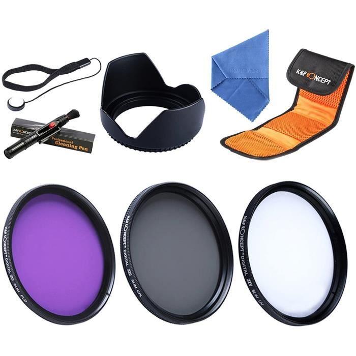 BOUCHON DOBJECTIF ncept Kit de Filtre Photos Objectif 58mm UV CPL FLD Chiffon de Nettoyage PareSoleil Stylo Bouchon avec Lens C677