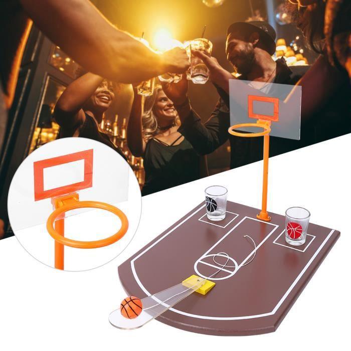 Jeu à boire de fête, mini jeu de société innovant de basket-ball de table avec verre 6PCS pour divertissement de fête de bar