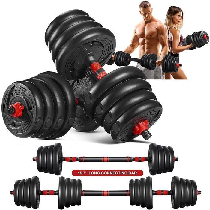 haltère 30kg réglable, 2.5 à 30kg, kit musculation Sport haltère avec barres