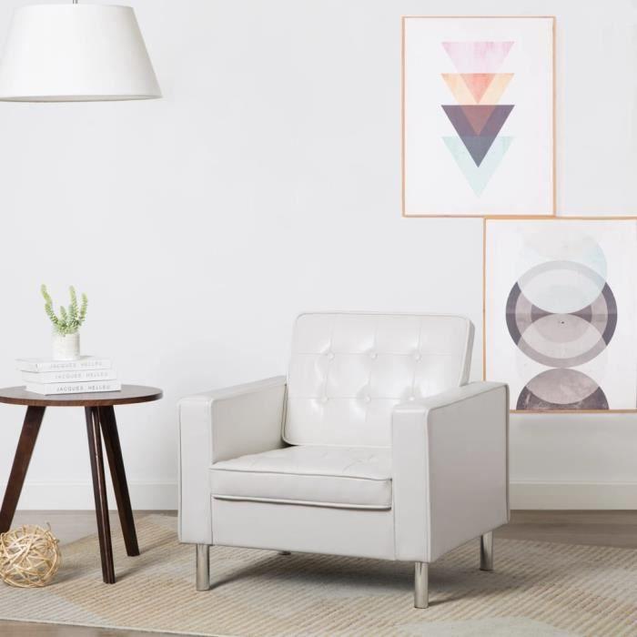 CIKONIELF Fauteuil Revêtement de simili-cuir 75 x 70 x 75 cm Blanc