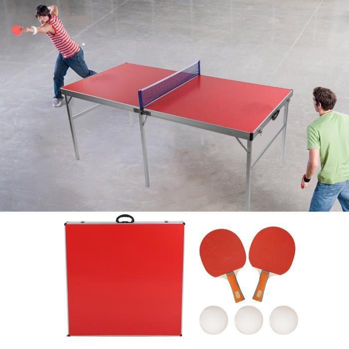 Table Tennis de Table - Table Ping Pong Compacte - Usage Extérieur - Rouge - 180x90x75cm(L x L x H)-CHE