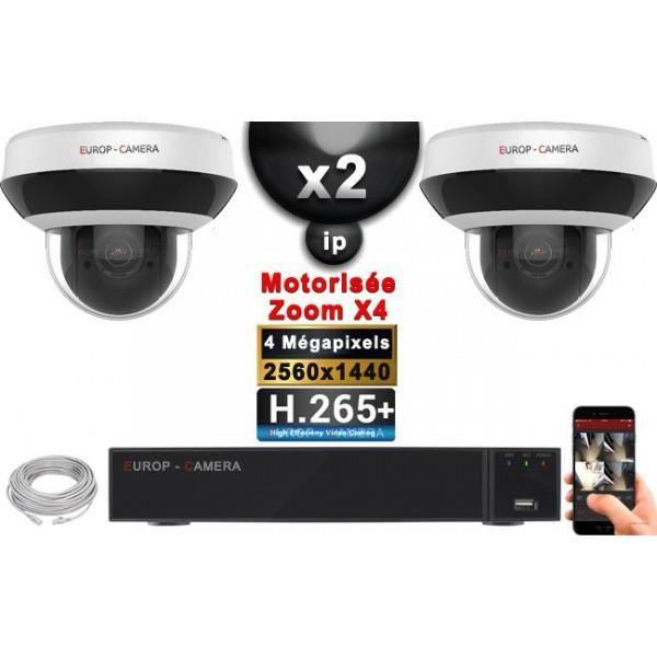 Kit Vidéo Surveillance PRO IP : 2x Caméras POE Dômes PTZ motorisée IR 20M 4 Mega