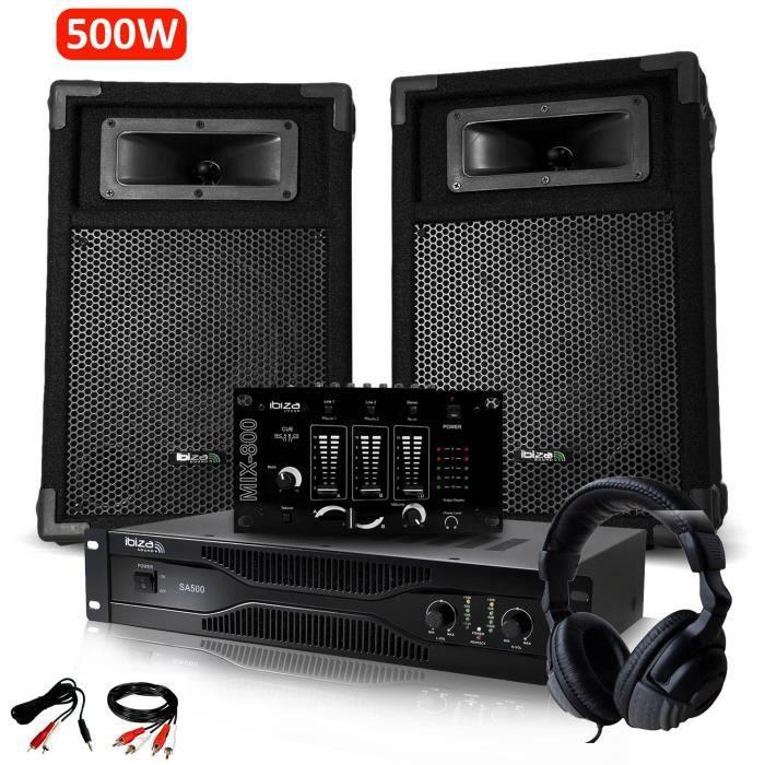 Pack Sono Dj IBIZA découverte 2 Enceintes + Amplificateur 500W + Table de mixage + Casque Audio + Câblages