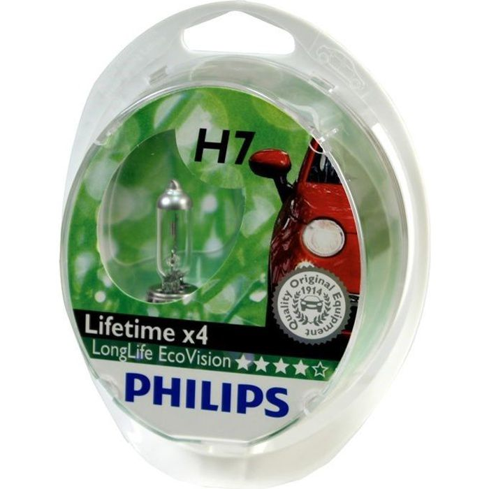 2 Ampoules Philips H7 LongLife EcoVision 55W