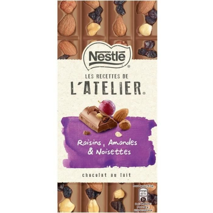 Nestlé Les Recettes de l'Atelier Raisins Amandes & Noisettes Chocolat au Lait 195g (lot de 2)