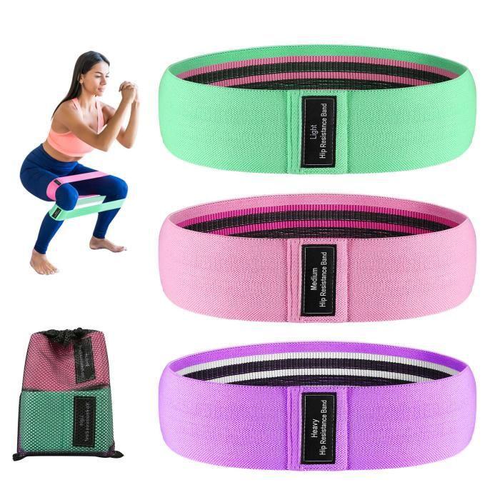 Bande Élastique Fitness, Bande de Résistance Élastique d'Exercices pour Musculation Pilates Yoga -3 Niveaux de Force