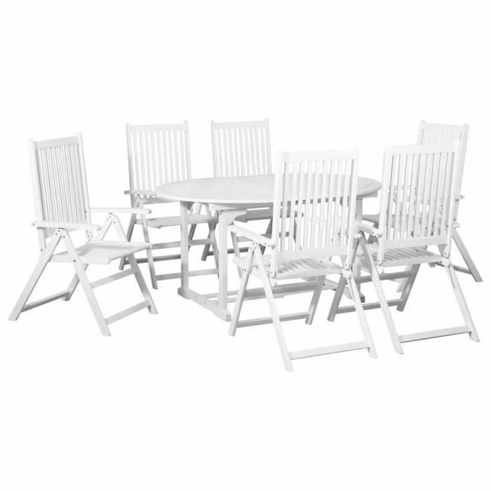 Luxueux Magnifique Moderne-Mobilier à dîner-Salon de jardin 7 pcs et table extensible Bois Blanc