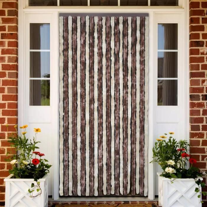Rideau de porte chenille brun et beige 90 x 220 cm