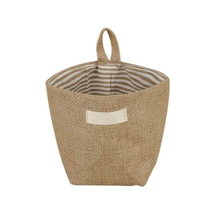 Mini Sac de Rangement rayé Jaune Suspendu Lin Coton Petit Organisateur Panier de Rangement Porte en Tissu Sac pour #8055