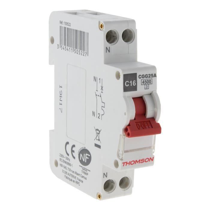 THOMSON Disjoncteur à vis PH+N - 16A NF - Pouvoir de coupure 4.5KA