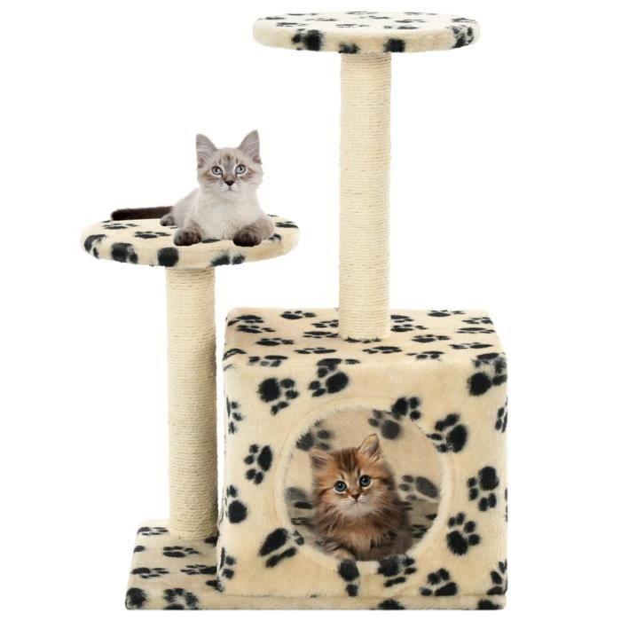 Arbre à chat avec griffoir en sisal 60 cm Beige Motif de pattes - Accessoires pour chats - Meubles pour chats - Beige - Beige